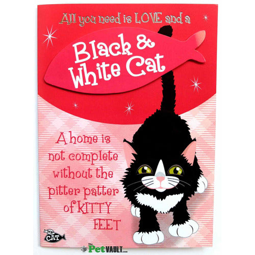 Black and White Cat Gift Greeting Card - The Pet Vault