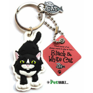 Black and White Cat Gift Keyring - The Pet Vault