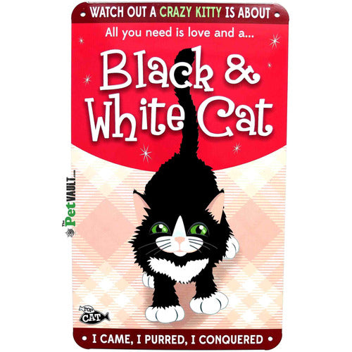 Black and White Cat Gift Sign - The Pet Vault