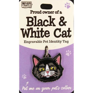 Black and White Cat ID Tag Charm Gift for Cat Lovers - the Pet Vault