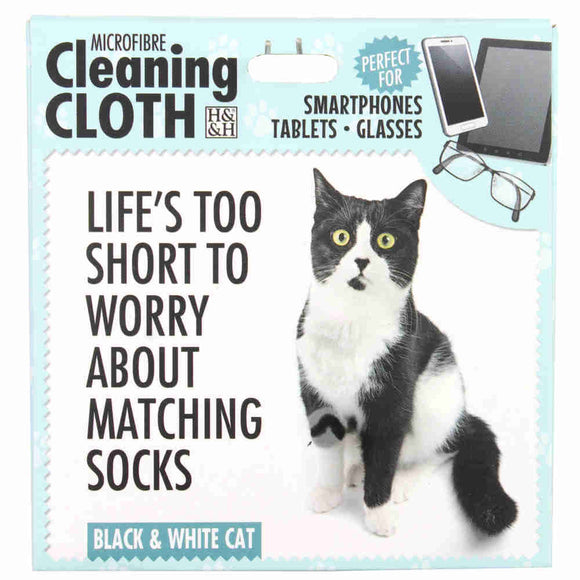 Black and White Cat Gift Microfibre Cloth