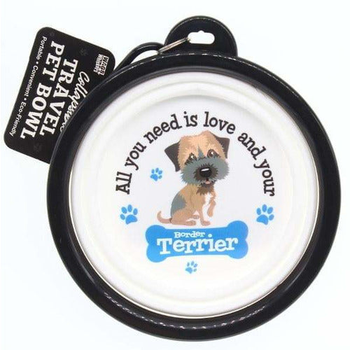 Border Terrier Collapsible Travel Dog Bowl Gift - The Pet Vault