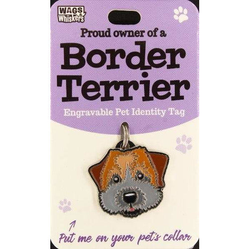 Border Terrier Dog ID Tag Charm Gift for Border Terrier Lovers by Wags and Whiskers - The Pet Vault