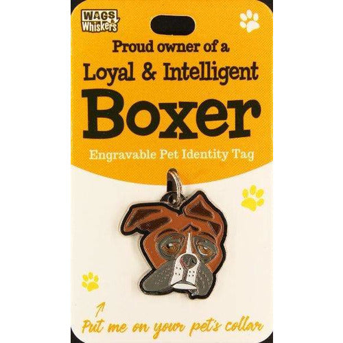 Boxer Dog ID Tag Charm Gift for Boxer dog Lovers by Wags and Whiskers - The Pet Vault