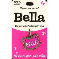 Cat Named Bella Cat Shaped ID Tag Collar Charm