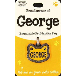 Cat Named George Cat Shaped ID Tag Collar Charm