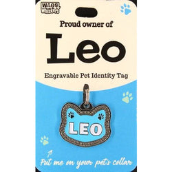 Cat Named Leo Cat Shaped ID Tag Collar Charm