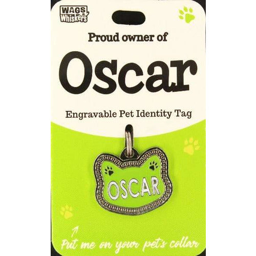 Cat Named Oscar Cat Shaped ID Tag Collar Charm