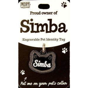 Cat Named Simba Cat Shaped ID Tag Collar Charm