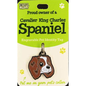 Cavalier King Charles Spaniel Dog ID Tag Charm Gift for King Charles Lovers by Wags and Whiskers - The Pet Vault