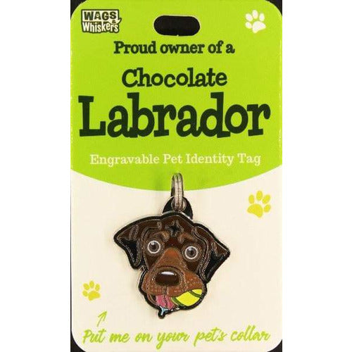 Chocolate Brown Labrador Dog ID Tag Charm Gift for Chocolate Brown Labrador Lovers by Wags and Whiskers - The Pet Vault