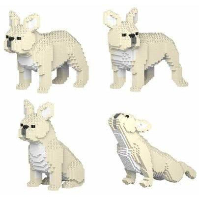 Cream French Bulldog Ornament Gift Model by Jekca, Building block model Frenchie Gift in four poses - The Pet Vault
