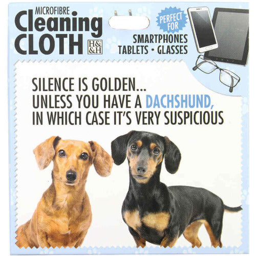 Dachshund Sausage Dog Glasses cleaning microfibre cloth - The Pet Vault