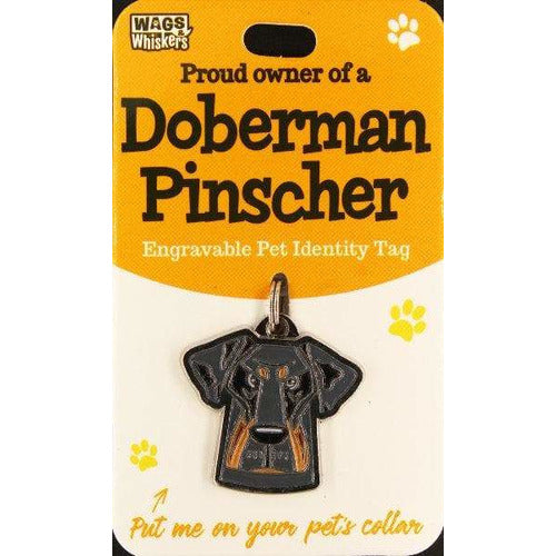 Doberman Pinscher Dog ID Tag Charm Gift for Doberman Lovers by Wags and Whiskers - The Pet Vault