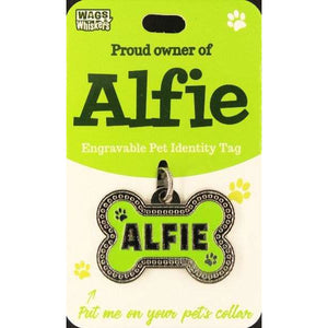 Dog Named Alfie Bone Shape Dog ID Tag Collar Charm - The Pet Vault