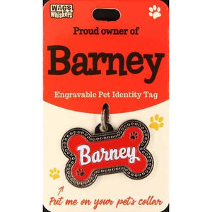 Dog Named Barney Bone Shape Dog ID Tag Collar Charm - The Pet Vault
