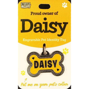 Dog Named Daisy Bone Shape Dog ID Tag Collar Charm - The Pet Vault