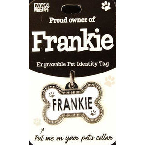 Dog Named Frankie Bone Shape Dog ID Tag Collar Charm - The Pet Vault