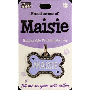 Dog Named Maisie Bone Shape Dog ID Tag Collar Charm - The Pet Vault