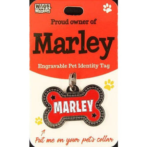 Dog Named Marley Bone Shape Dog ID Tag Collar Charm - The Pet Vault