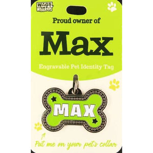 Dog Named Max Bone Shape Dog ID Tag Collar Charm - The Pet Vault