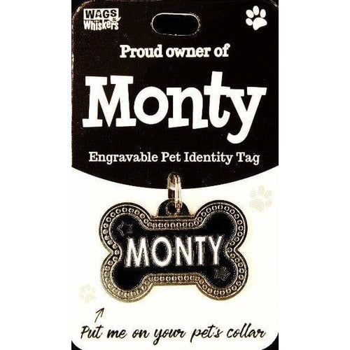 Dog Named Monty Bone Shape Dog ID Tag Collar Charm - The Pet Vault
