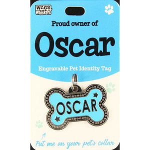 Dog Named Oscar Bone Shape Dog ID Tag Collar Charm - The Pet Vault