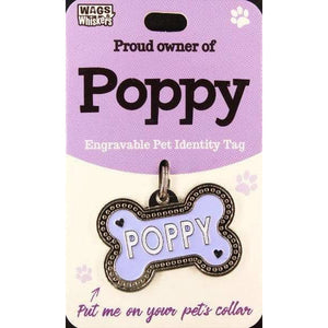 Dog Named Poppy Bone Shape Dog ID Tag Collar Charm - The Pet Vault