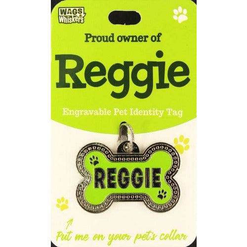 Dog Named Reggie Bone Shape Dog ID Tag Collar Charm - The Pet Vault