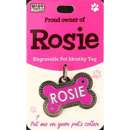 Dog Named Rosie Bone Shape Dog ID Tag Collar Charm - The Pet Vault