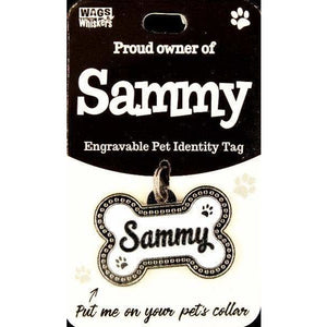 Dog Named Sammy Bone Shape Dog ID Tag Collar Charm - The Pet Vault