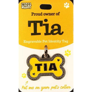 Dog Named Tia Bone Shape Dog ID Tag Collar Charm - The Pet Vault