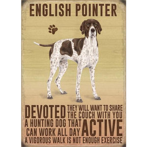 English Pointer Gift Vintage Retro Metal Fridge Magnet- The Pet Vault