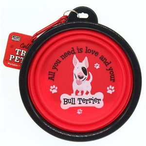 English Bull Terrier Collapsible Travel Dog Bowl Gift - The Pet Vault