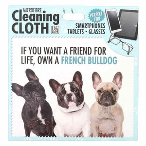 French Bulldog Gift Screen, Phone and Glasses cleaning microfibre cloth