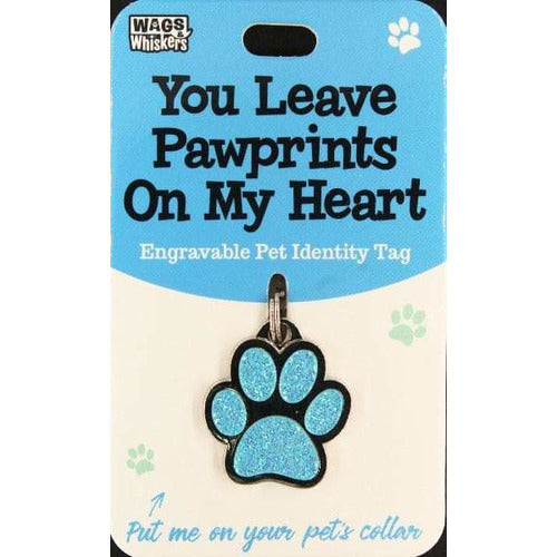 Funny and Cute Blue Paw Print Dog ID Tag Collar  Charm  - The Pet Vault