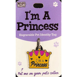 Funny and Cute Dog ID Tag Collar Charm Crown with Princess phrase - The Pet Vault