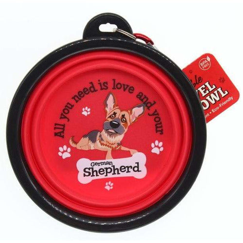 German Shepherd Collapsible Travel Dog Bowl Gift - The Pet Vault