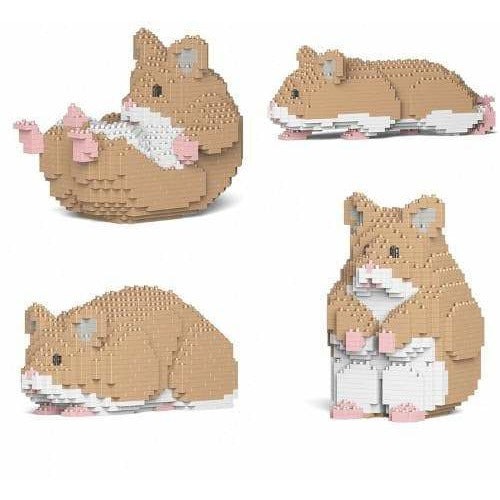 Jekca Brown Hamster Gift Ornament Model lego inspired building block hamster - The Pet Vault