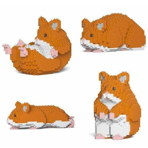 Jekca Red Hamster Gift Ornament Model lego inspired building block hamster - The Pet Vault