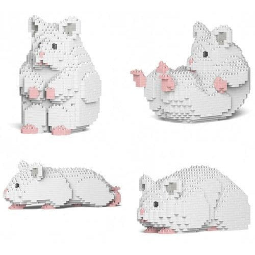Jekca White Hamster Gift Ornament Model lego inspired building block hamster - The Pet Vault