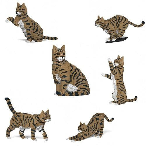 Jekca Brown Tabby Cat Gift Ornament Model, gift for Brown Tabby Cat lovers in four poses - The Pet Vault