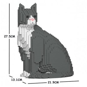 Jekca Grey Tuxedo Cat Gift Ornament Model, gift for Grey Tuxedo Cat lovers in four poses - The Pet Vault