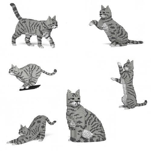 Jekca Silver Tabby Cat Gift Ornament Model, gift for Silver Tabby Cat lovers in four poses - The Pet Vault