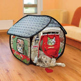 Kong Cat furniture play spaces Cat Hideaway bungalow in use - The Pet Vault