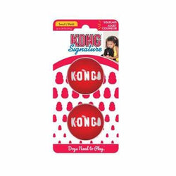 Kong Signature Ball Small Bouncy Red Rubber Dog Ball Two Pack - The Pet Vault