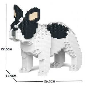 Pied French Bulldog Ornament Gift Model by Jekca, Building block model Frenchie Gift in four poses - The Pet Vault