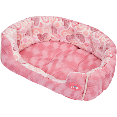 Gor Pets Hearts Dog Snuggle Bed - Pink - The Pet Vault