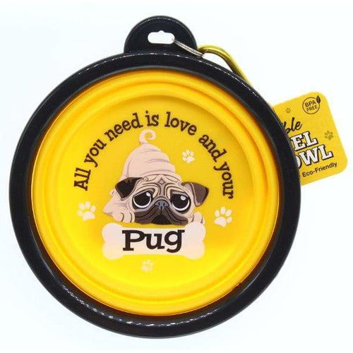 Pug Collapsible Travel Dog Bowl Gift - The Pet Vault