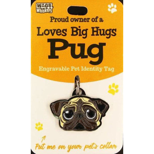 Pug Dog ID Tag Charm Gift for Pug Lovers by Wags and Whiskers - The Pet Vault